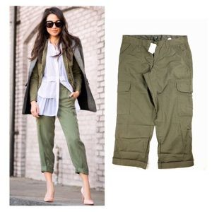 New J Crew City Fit Cargo Crop Pants Olive Green